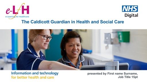 The Role of the Caldicott Guardian PowerPoint 28 03 2017 Published