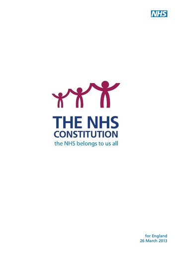 The NHS constitution for England - 2013